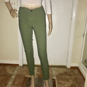 Pants - Stretchy Olive Green Skinny Trouser Pants